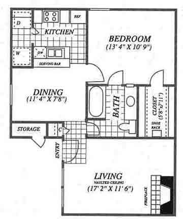 660 sq. ft. A1CX floor plan