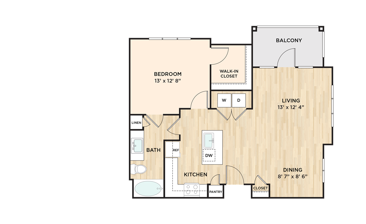 841 sq. ft. to 857 sq. ft. A2E floor plan