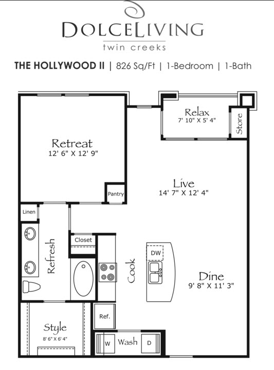 826 sq. ft. A4-Hollywood floor plan