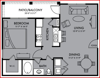 726 sq. ft. Eclipse floor plan
