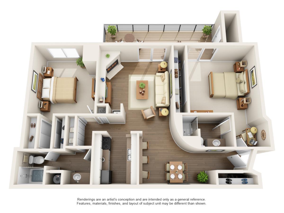 1,105 sq. ft. 2D floor plan