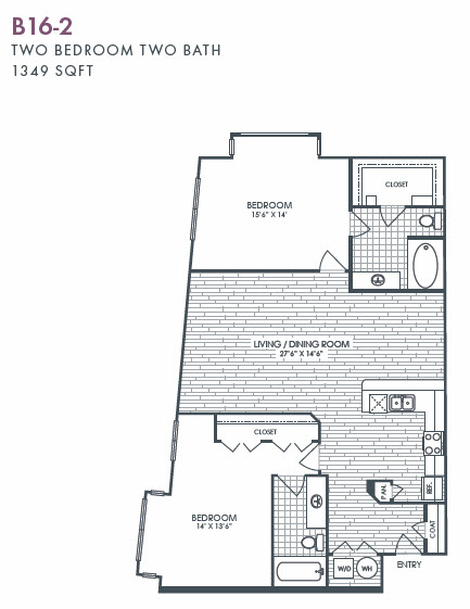 1,349 sq. ft. B16-2 floor plan