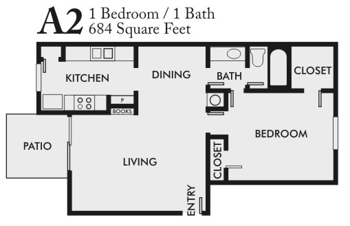 684 sq. ft. A2 floor plan