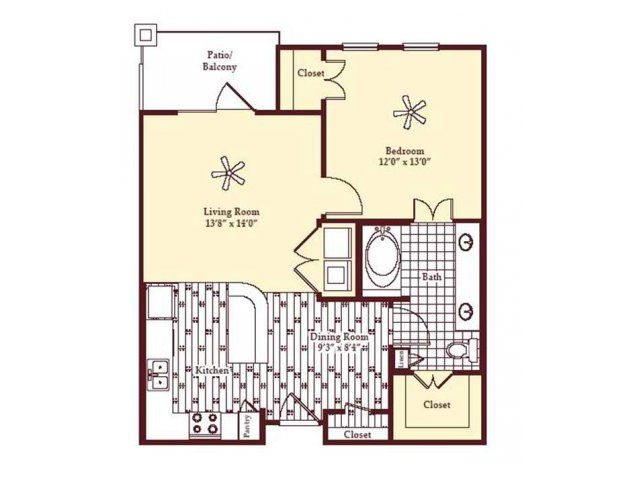 763 sq. ft. A1 floor plan