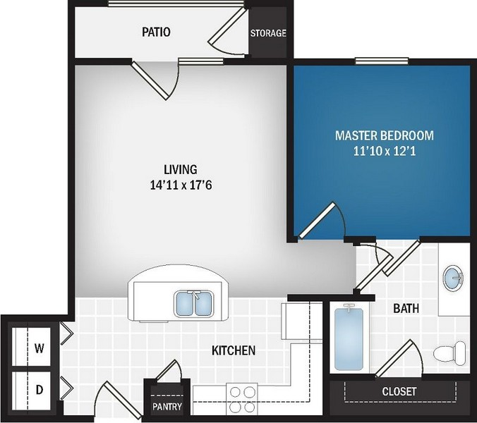 684 sq. ft. Stratus floor plan