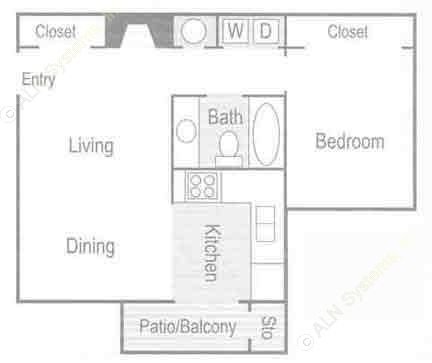 868 sq. ft. Naples (A2) floor plan