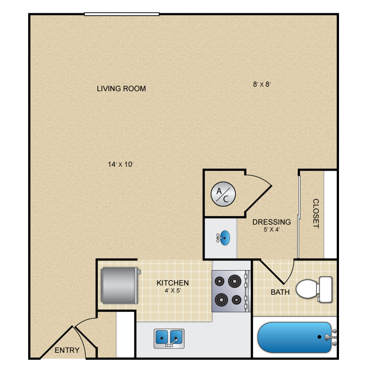400 sq. ft. La Buena floor plan