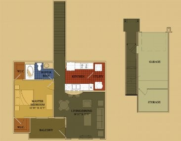 806 sq. ft. Jasmine floor plan