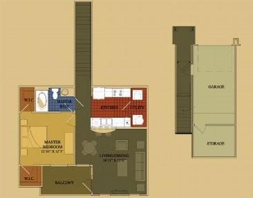 806 sq. ft. Dogwood floor plan