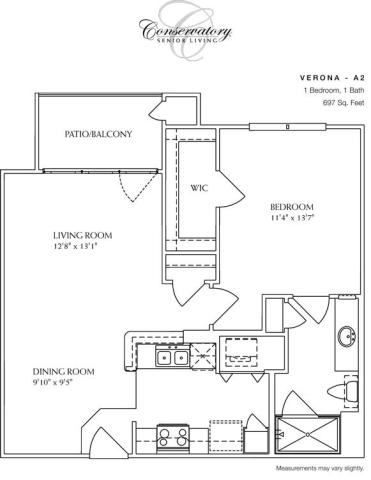 697 sq. ft. Verona floor plan
