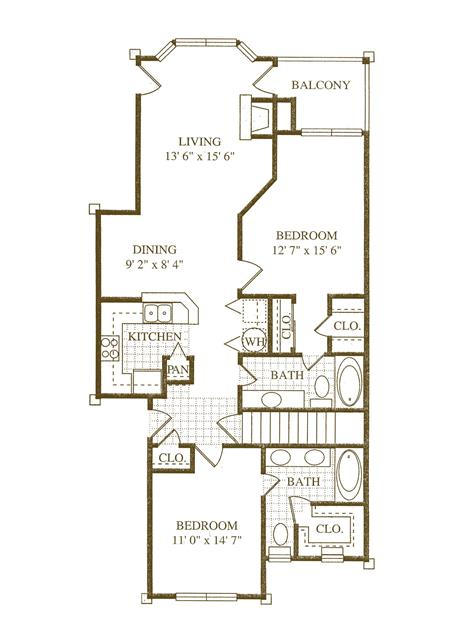 1,146 sq. ft. B2 floor plan