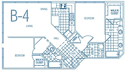 1,049 sq. ft. B4 60% floor plan