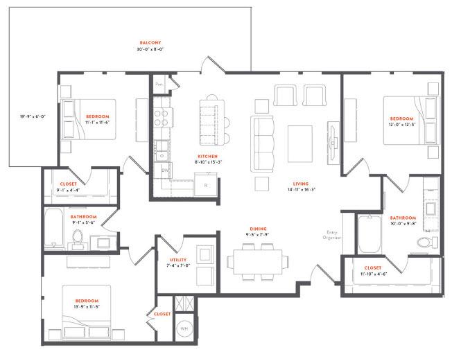 1,461 sq. ft. C1 floor plan