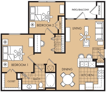 940 sq. ft. Boxwood floor plan