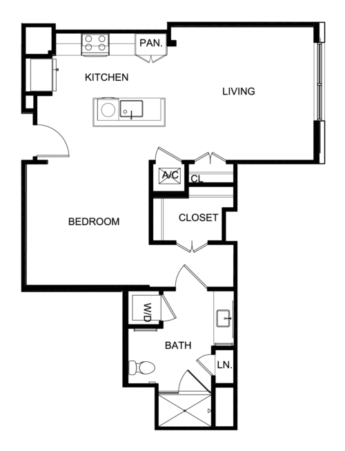 739 sq. ft. A3 floor plan