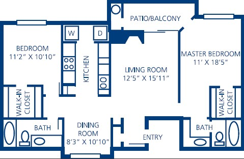 1,021 sq. ft. B3 floor plan