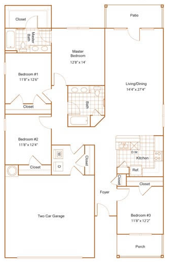 1,696 sq. ft. 60% floor plan
