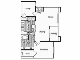 982 sq. ft. C floor plan