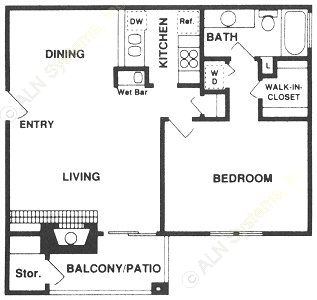 768 sq. ft. A floor plan