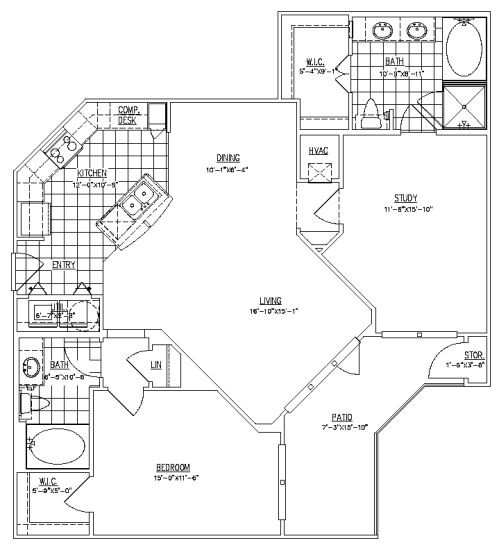 1,198 sq. ft. Heights floor plan