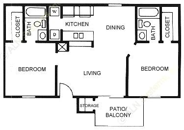 830 sq. ft. B1 floor plan