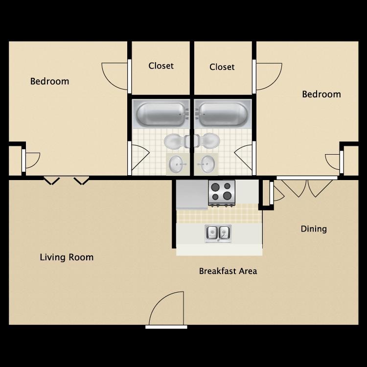 1,250 sq. ft. B1 floor plan