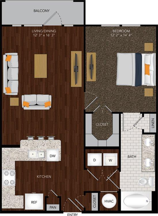 806 sq. ft. A3 floor plan