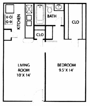 498 sq. ft. E1 floor plan