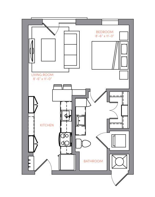 516 sq. ft. S1A.5 floor plan