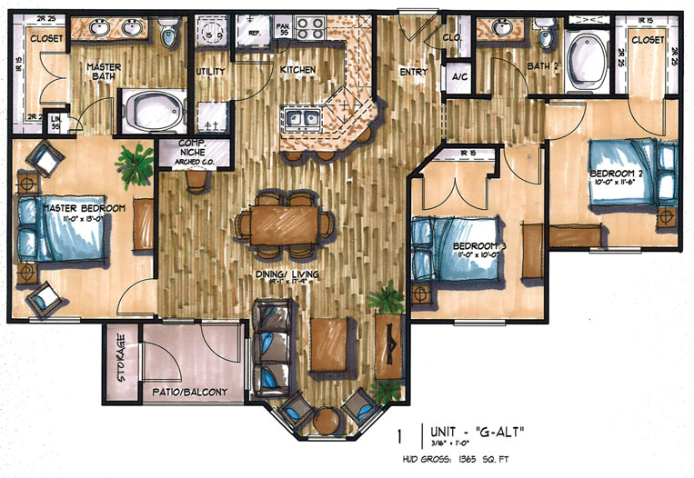 1,365 sq. ft. E floor plan