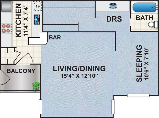530 sq. ft. Q1 floor plan