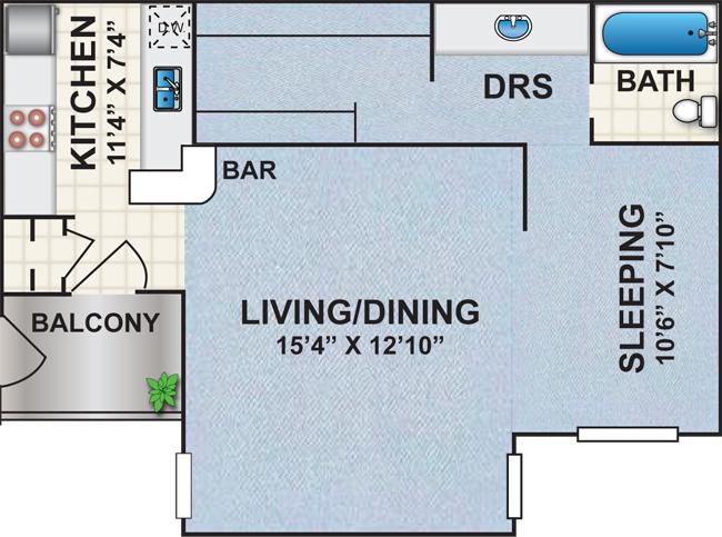 530 sq. ft. Q1 floor plan