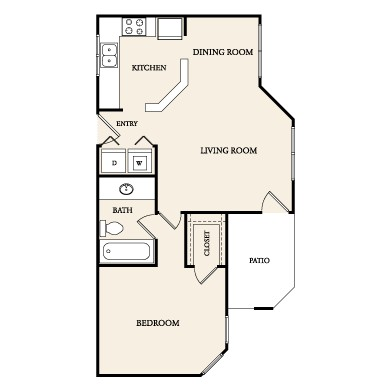 704 sq. ft. A-1 floor plan