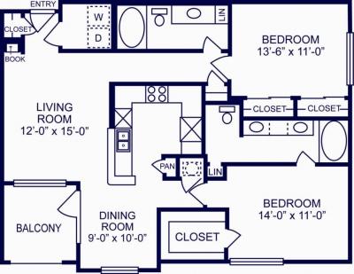 1,137 sq. ft. N floor plan