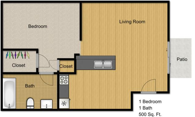 500 sq. ft. EFF floor plan