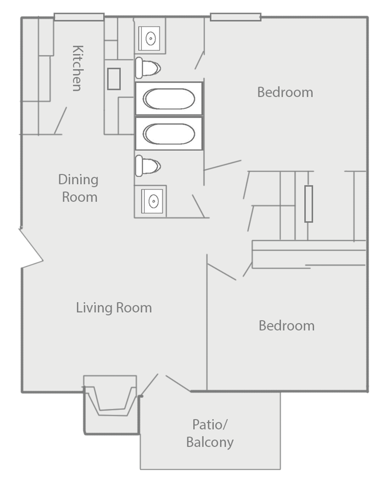 900 sq. ft. F floor plan