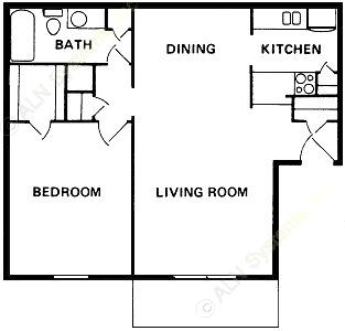 745 sq. ft. A-2 floor plan