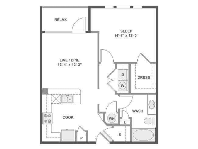 730 sq. ft. to 814 sq. ft. A3A floor plan