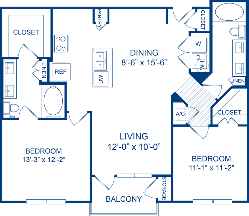 1,097 sq. ft. Rock Rose floor plan
