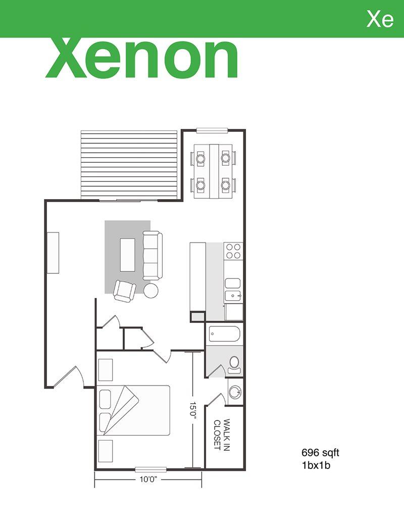 696 sq. ft. Xenon floor plan