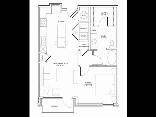 758 sq. ft. 1B floor plan