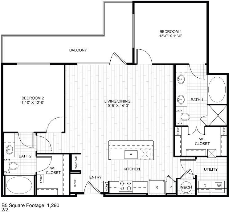 1,290 sq. ft. B5 floor plan