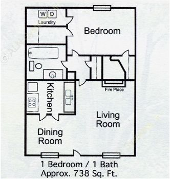 738 sq. ft. A-1 floor plan