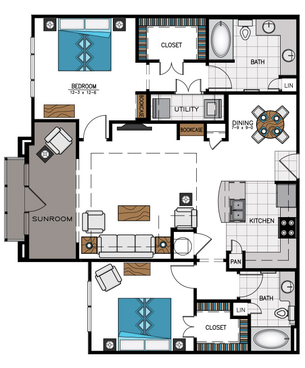 1,307 sq. ft. B4C floor plan