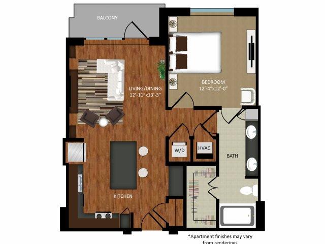 780 sq. ft. A3A floor plan