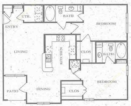 1,116 sq. ft. D floor plan