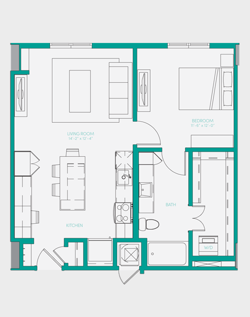 729 sq. ft. A1.4 floor plan