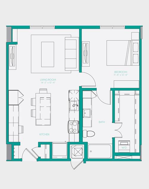 729 sq. ft. A1.4 floor plan