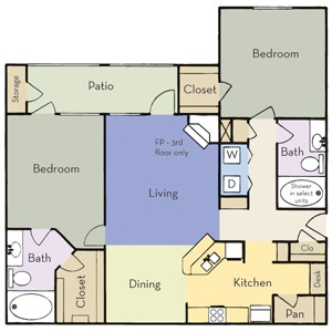 1,251 sq. ft. Plan B2B floor plan