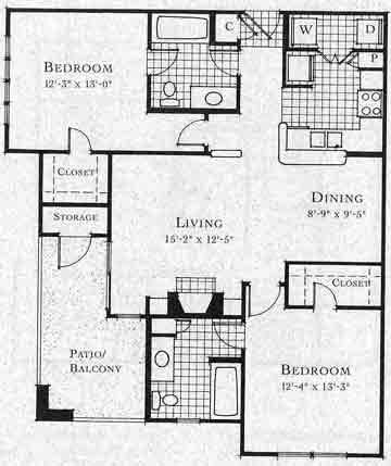 1,039 sq. ft. B3 floor plan
